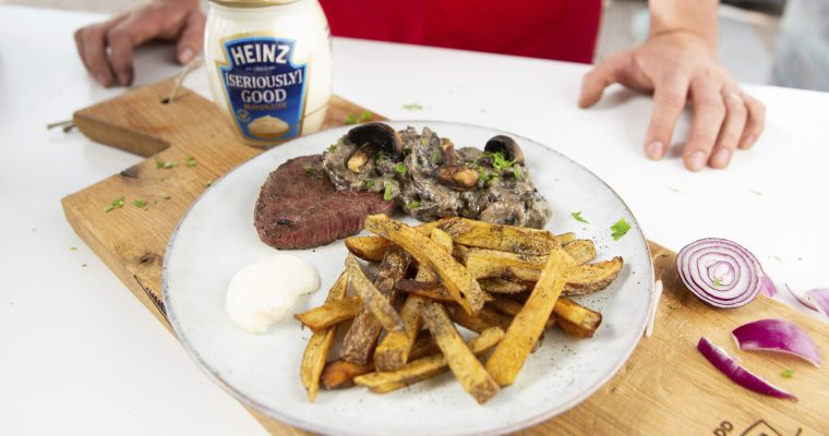 Frietjes 2.0 : Gerookt hooizout – steak champignon